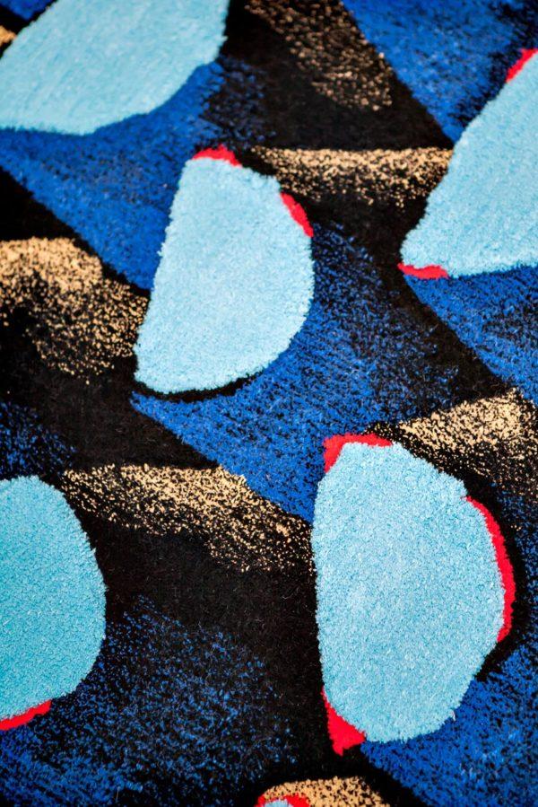 Tapis / Rug Bleu palmier by Julien Colombier détail