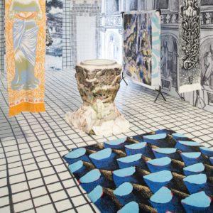 Tapis / Rug Bleu palmier by Julien Colombier in situ